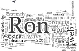 Ron Norris Word Cloud based on Linked In recommendations